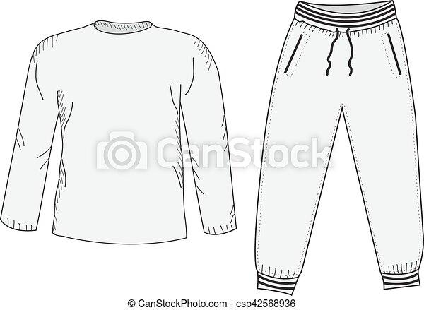 Jacke und Pulli. Tracksuit, Sketch Set. Dinge im Stil der Handzeichnung. Sportswear. Sportanzug. Vector Illustration - csp42568936