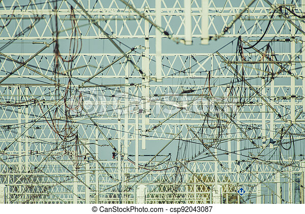 Traction Power Electric Railroad Masts - csp92043087