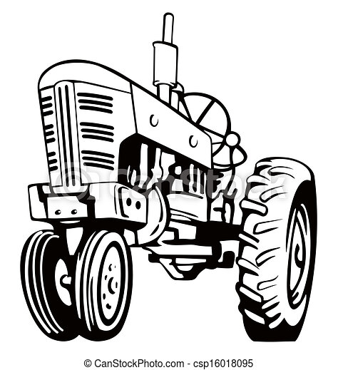 Tractor Black And White Illustration Of A Tractor In