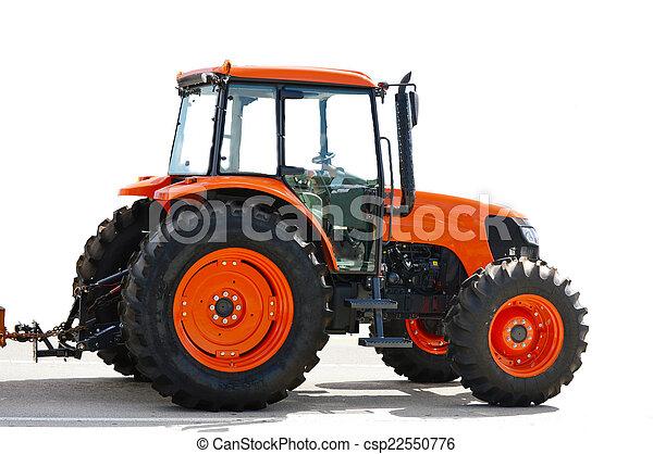 Agricultura tractor rojo en blanco - csp22550776