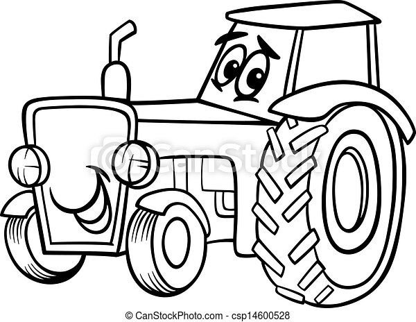 tractor cartoon for coloring book - csp14600528