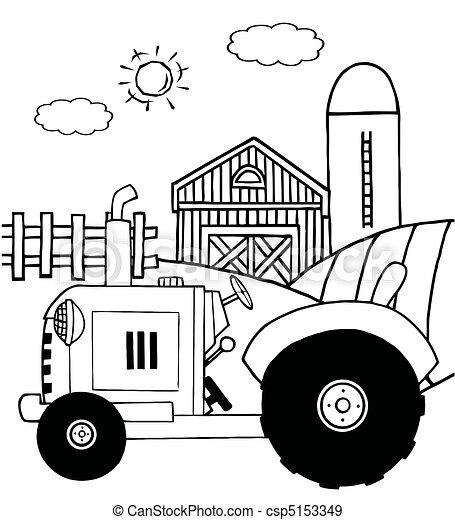Un tractor en un pasto - csp5153349