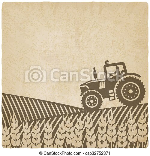 tractor in field old background - csp32752371