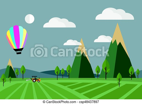 Tractor in the field with Balloon, vector illustration. - csp48437897