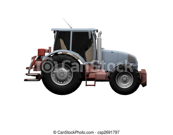 Tractor isolated heavy machine side view - csp2691797