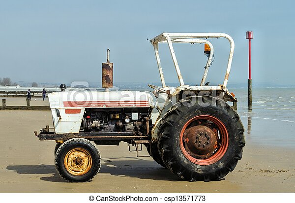 Tractor on Beach - csp13571773