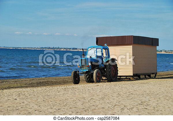 Tractor on coast - csp2587084