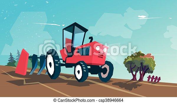 Tractor Plowing Field Farming Vector - csp38946664