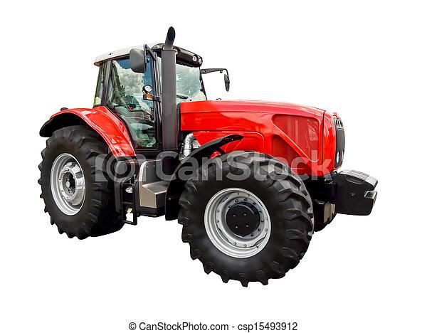 Un tractor de granja rojo - csp15493912