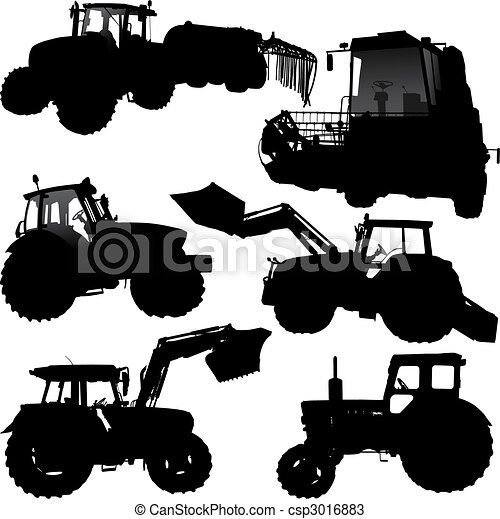 Tractor silhouettes - csp3016883