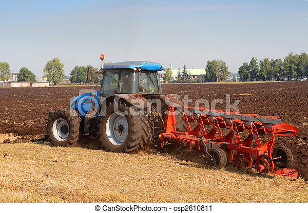 tractor with plough - csp2610811