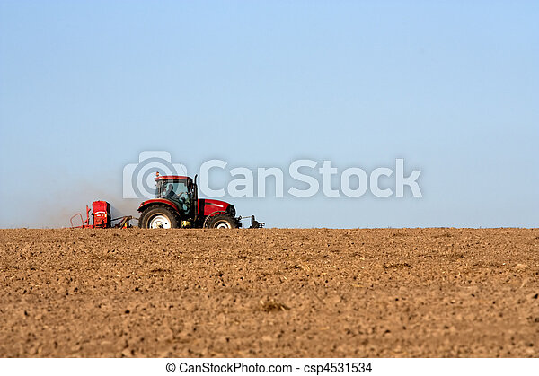 Tractor with plough - csp4531534