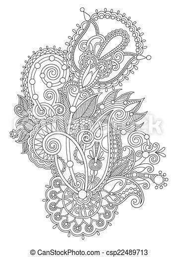 Trad Dessiner Fleur Art Ukrainien Main Orné Ligne Original Design