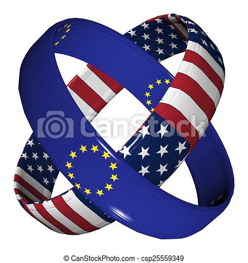 Trade Agreement Usa And Eu Symbol For The Transatlantic Trade And