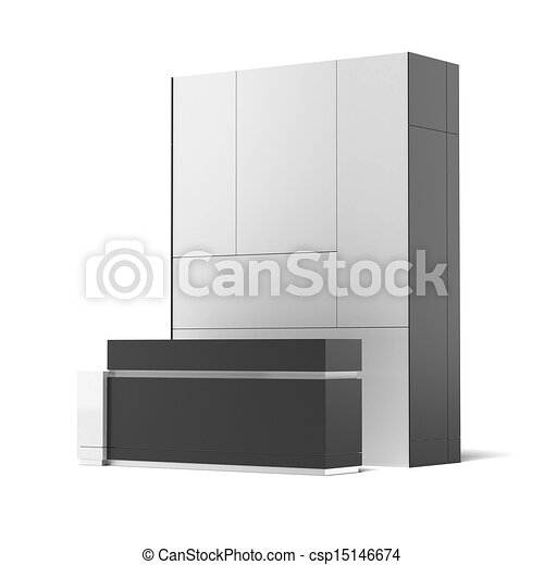 Exhibition Booth Icon : Trade exhibition booth isolated on a white background