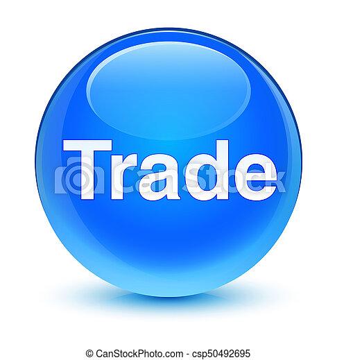 Trade glassy cyan blue round button - csp50492695