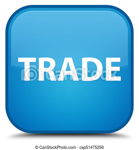 Trade special cyan blue square button - csp51475256