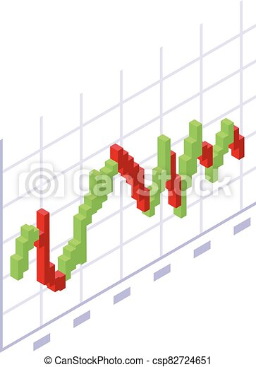 Trader red green graph icon, isometric style - csp82724651