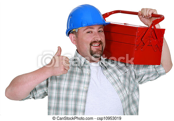 Tradesman carrying a toolbox and giving the thumb's up - csp10953019