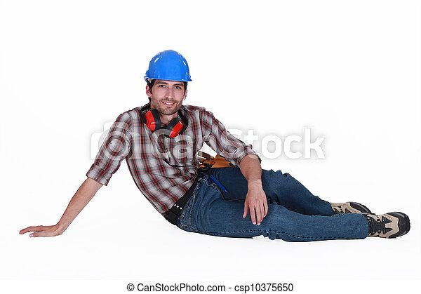 Tradesman taking a break - csp10375650