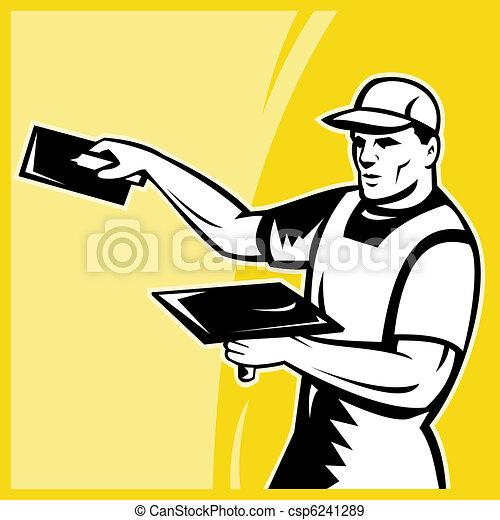 tradesman, trabalho, plasterer, trabalhador - csp6241289