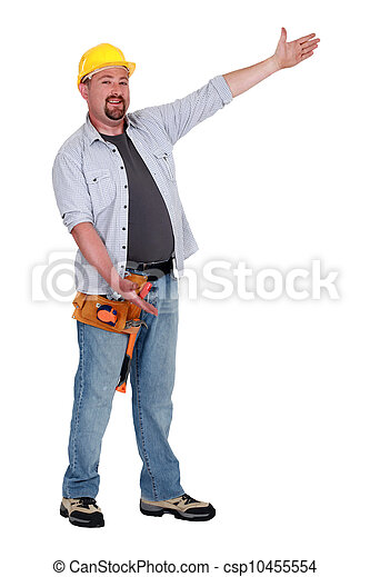 Tradesman with his arms open wide - csp10455554