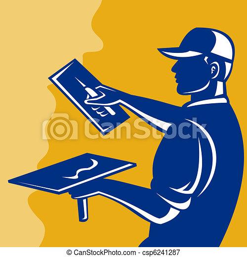 tradesman worker plasterer at work  - csp6241287