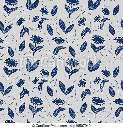 Trasfondo de girasoles azules tradicionales - csp19507940