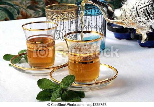 tradicional, chá, hortelã, marroquino - csp1885757