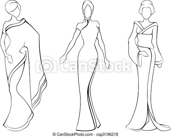tradicional, esboço, asiático, vestidos, mulheres - csp3196218