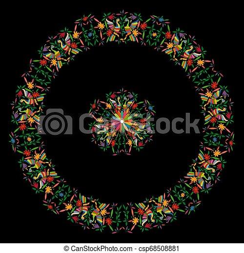 tradicional, estilo, ou, mexicano, bordado, cidade, pássaros, tenango, mexico., fundo, isolado, composição, têxtil, hidalgo, pretas, pavão, floral, mandala, coloridos, quadro, circular - csp68508881