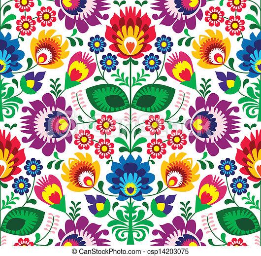 tradicional, floral, seamless, patrón - csp14203075