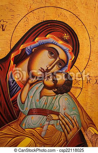 Un icono tradicional ortodoxo de la madre Mary - csp22118025