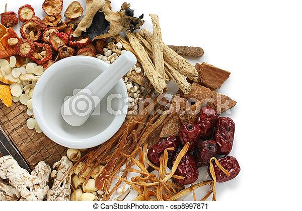 tradicional, medicina herbaria, chino - csp8997871