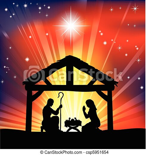 tradicional, natividad, cristiano, escena navidad - csp5951654