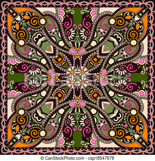 tradicional, ornamental, cachemira, floral, bandanna - csp18547678
