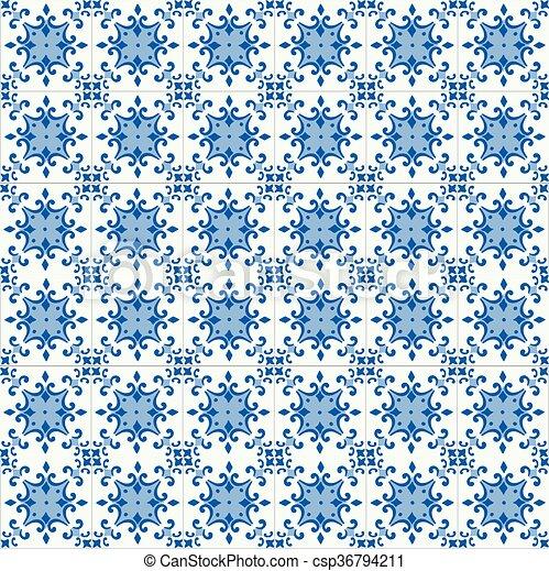 Azulejos tradicionales ornativos portugueses - csp36794211