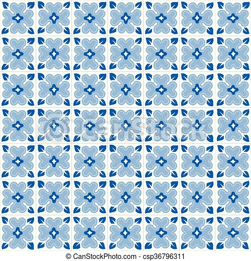 Azulejos tradicionales ornativos portugueses - csp36796311