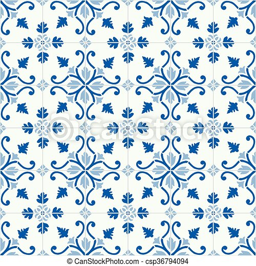 Azulejos tradicionales ornativos portugueses - csp36794094