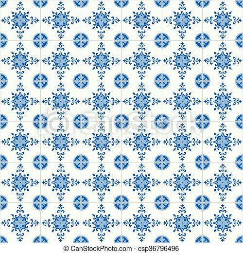Azulejos tradicionales ornativos portugueses - csp36796496