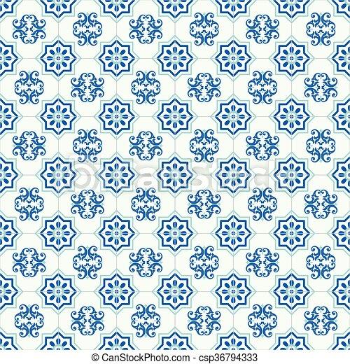Azulejos tradicionales ornativos portugueses - csp36794333