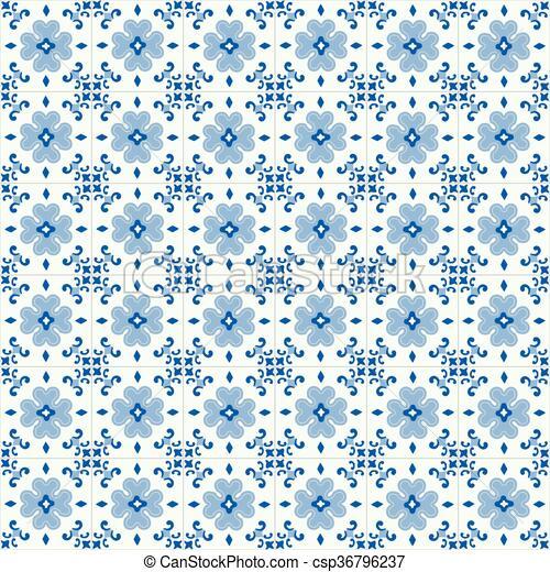 Azulejos tradicionales ornativos portugueses - csp36796237