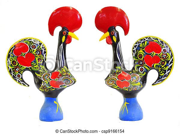 Estatuilla portugués tradicional de la polla de Barcelos - csp9166154