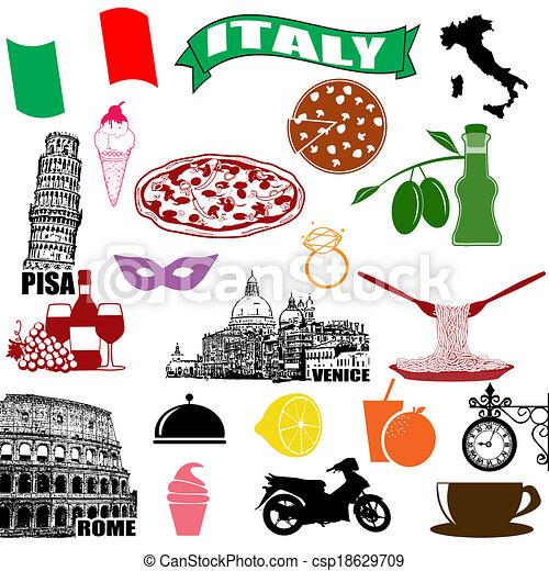 tradicional, símbolos, itália, italiano - csp18629709