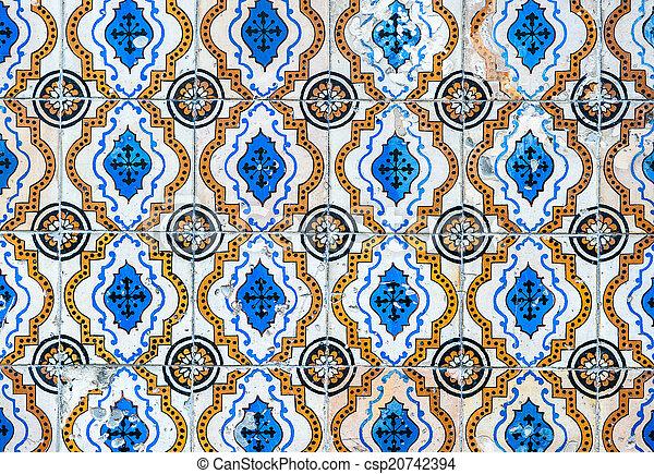 Vintage azulejos, baldosas tradicionales portuguesas - csp20742394