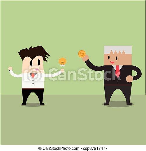 Trading. businessman exchange ideas and money - csp37917477