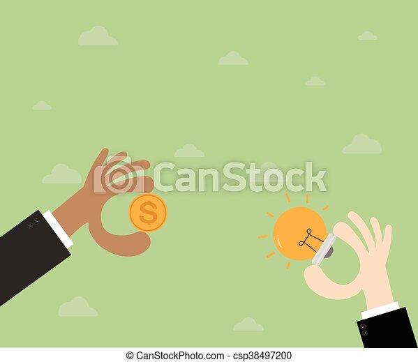 Trading. Hand businessman exchange ideas and money - csp38497200