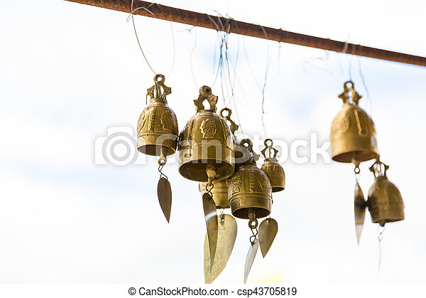 Tradition asian bells in Buddhism temple in Phuket island,Thailand. Famous Big Buddha wish bells - csp43705819
