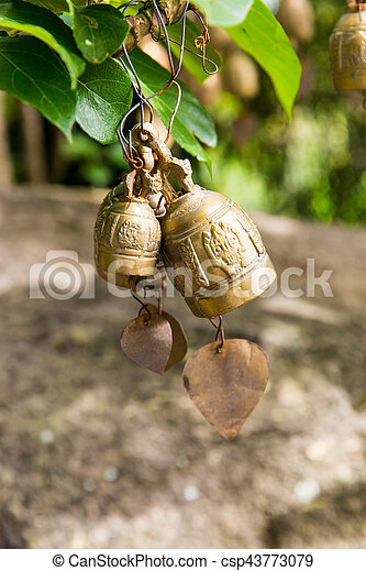 Tradition asian bells in Buddhism temple in Phuket island,Thailand. Famous Big Buddha wish bells - csp43773079
