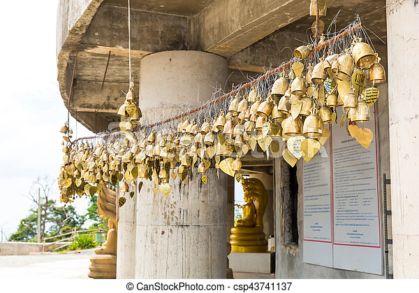 Tradition asian bells in Buddhism temple in Phuket island,Thailand. Famous Big Buddha wish bells - csp43741137